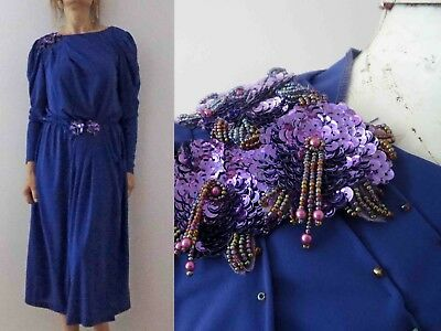 80s Purple Stretch Jersery Long Sleeve Dress Small Buy 3+ items for FREE Post