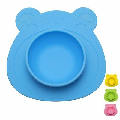 URSMART One-piece Baby Placemat Bowl-Highchair Feeding Tray Round Suction plate
