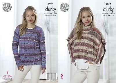 KINGCOLE 5054 ADULT Chunky KNITTING PATTERN  28- 46in -not the finished items
