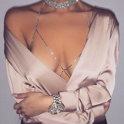 Sexy Electroplated Women Shiny Crystal Rhinestone Chest Body Chains Jewelry GT
