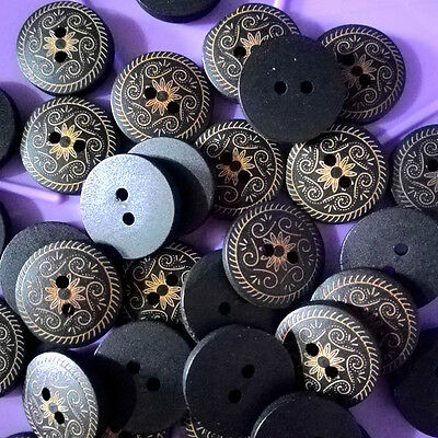 EG_ HK- 50 Pcs 18mm Round Wood Two Hole Buttons Floral Carved Sewing Accessories