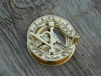 Copper Sundial Compass Brass Nautical Maritime Antique Vintage London Decor Gift