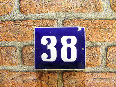 Vintage Sign House Door Number 38, Blue and White Enamel Metal Plate Authentic