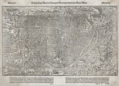 1628 Cairo, Egypt, Munster Map, old woodcut map from the Cosmographica