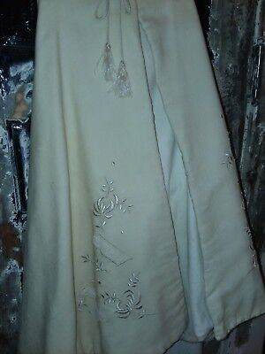 Beautiful Antique linen Edwardian childs cape,CLOAK with embroidery*