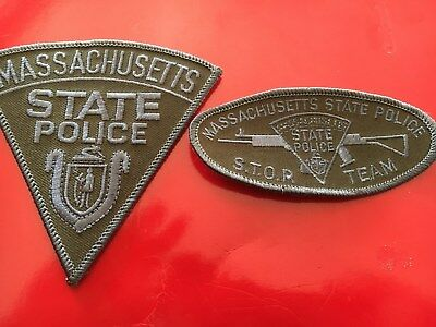 Massachusetts State Police Stop Team patch set subdued SWAT od green
