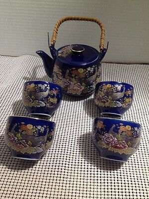 Vintage Cobalt Blue Bamboo Handle Teapot And 4 Cups Peacock Design