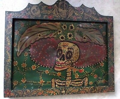 Mexican Folk Art Velez Wood Wall Painting Rustic Smoking Catrina Day of Dead