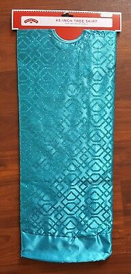 """Holiday Time 48"""" Christmas Tree Skirt Teal Blue Glitter Design Bright NEW"""