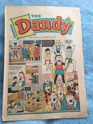 Dandy Comic No 1348 September 23rd 1967, Vintage UK Korky the Cat, Desperate Dan