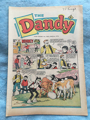 Dandy Comic No 1489 June 6th 1970 Vintage UK Korky the Cat, Desperate Dan