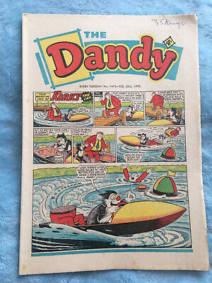 Dandy Comic No 1475 Febuary 28th 1970, Vintage UK Korky the Cat, Desperate Dan