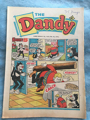 Dandy Comic No 1472 Febuary 7th 1970, Vintage UK Korky the Cat, Desperate Dan