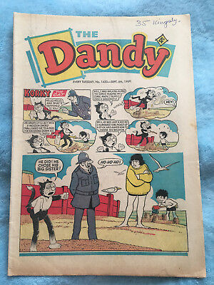 Dandy Comic No 1450 September 6th 1969, Vintage UK Korky the Cat, Desperate Dan