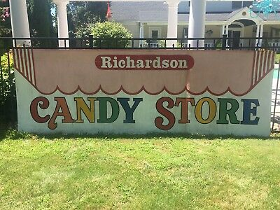 Richardson CANDY STORE painted tin metal store sign 12ftx4ft