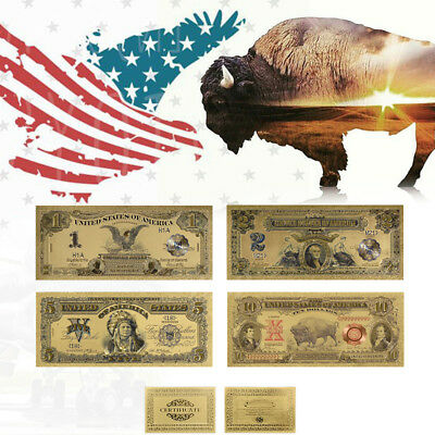 WR US Gold Banknote Set 1989 $1, $2, $5 Silver Certificate & 1901 $10 Bison Note