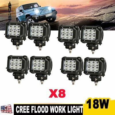 8x 18W CREE 4inch LED Work Light Bar Flood Offroad Driving Truck Jeep 12V 24V