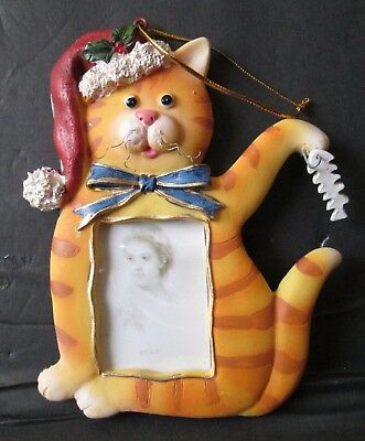 "Striped Christmas Tabby Cat Photo Picture Frame Ornament 5"" Resin"