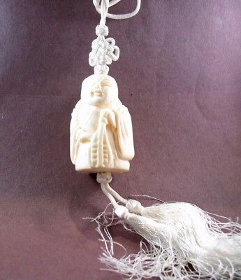 Pendant Necklace on Cord with Tassels Lucky God Bleached Figure Buffalo Bone BP3