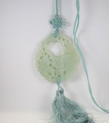 Jade Pendant Necklace on Green Cord with Tassels Carved Elephants Asian Bead JP1