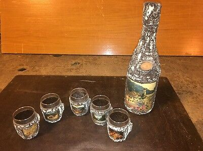 Unique Vintage German Themed Decanter & 5 Glasses With Applied Faux Wood Bark