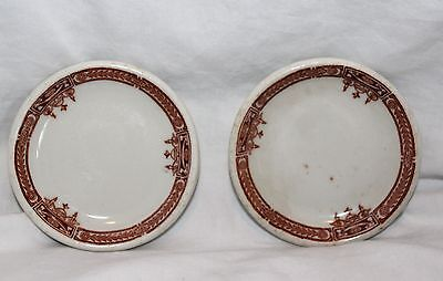 Vintage Lot Of 2 Miniture Red & White China Butter Plates!