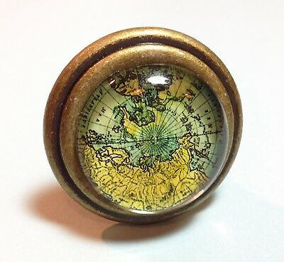 Antique Bronze Glass World Map Glass Cabochon Cast Iron Knobs Cabinet Drawer