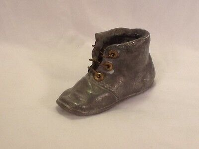 Antique/Vintage NonMagnetic Sand Cast Baby Shoe W/Brass Eyelets & Strings