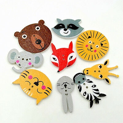 EG_ 50Pcs Mixed Animal Scrapbooking Decor Sewing 2 Holes Wooden Buttons Charm