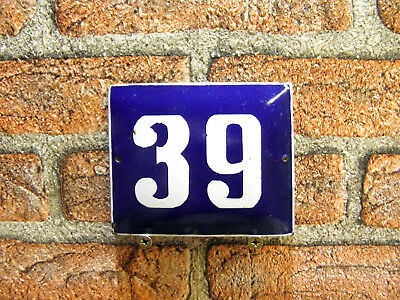 Vintage Sign House Door Number 39, Blue and White Enamel Metal Plate Authentic
