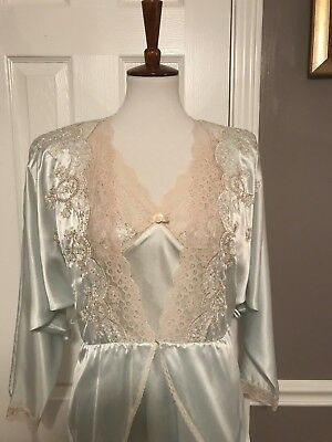 Vintage Miss Dior Peignoir Set Gown Robe ~ S ~ Elegant And Feminine mint