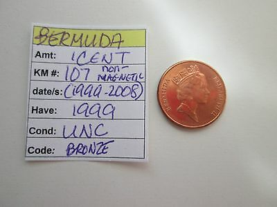 Single coin from BERMUDA,  1 cent, 1999, KM 107 (1999-2008), UNC