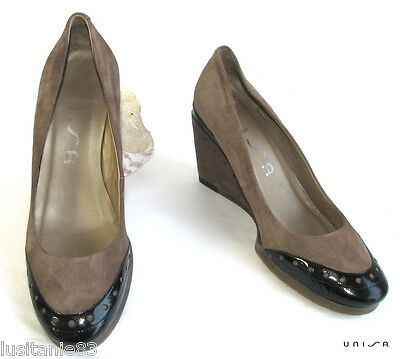 Unisa - Wedges Shoes & Plateau Brown Leather & Black 37 - Very Good Condition