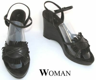 WOMAN - SHOE Wedge ALL LEATHER CHOCO 40 - VERY GOOD CONDITION