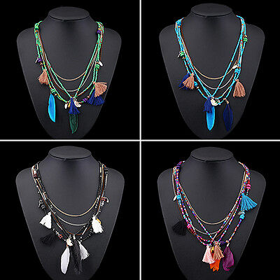 EG_ Women's Boho Ethnic Feathers Tassels Beads Multi-layer Chain Necklace Candid