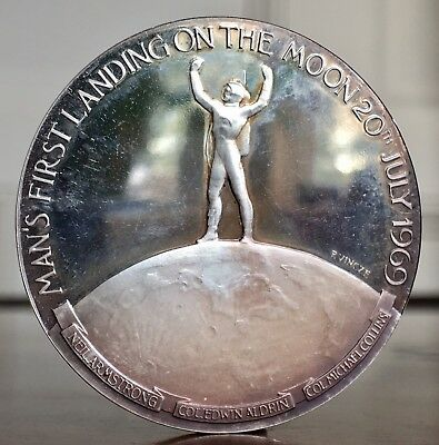Man's First Landing On The Moon, 1969. Silver Medal, By Paul Vincze. 45mm