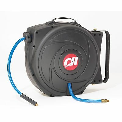 Air Hose Reel with Retractable 50 Foot Hose, 3/8 Inch ID, Mountable, Swivel