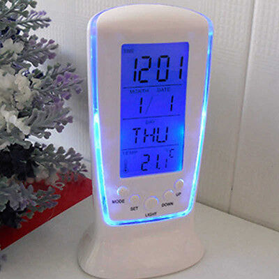 EG_ LED Digital Alarm Clock with Blue Backlight Electronic Calendar Thermometer