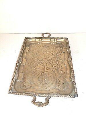 Tray centerpieces brass Silver chiseled with handles Type silver