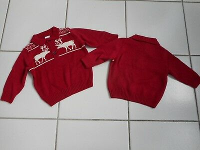 New GYMBBOREE Boy Christmas Fair Isle Red White Reindeer Moose Sweater Pullover