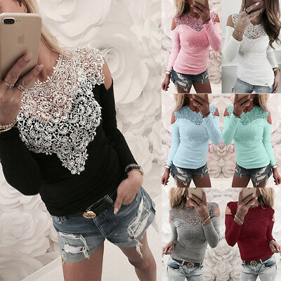 AU Summer Womens Lace T Shirt Long Sleeve Off Shoulder Blouse Ladies Casual Tops