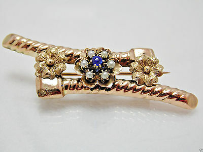 Exquisite Antique Victorian 10K Gold Seed Pearl & Blue Paste Brooch Pin Estate