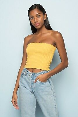 f80db20180 Brandy Melville deep yellow white striped ruffle smocked cleo tube top XS