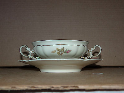 Cream Soup Bowl Plate Hutschenreuther Selb Silvia Bavaria Germany Gold Rim Rose
