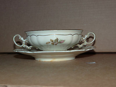 Cream Soup Bowl Plate Hutschenreuther Selb Bavaria Germany Silvia Gold Rim Rose