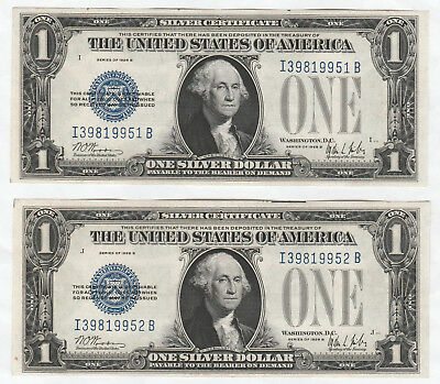 Consecutive Pair of 1928-B $1 Silver Certificates--Ungraded, Funnyback
