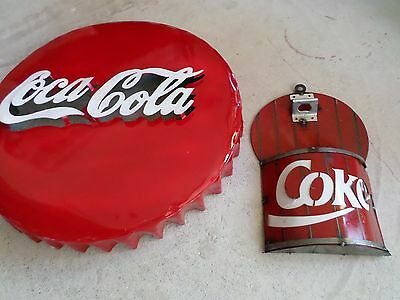 """Recycled Metal Coca Cola Cap Sign and Wall Bottle Opener Restaurant Bar 21"""" Coke"""