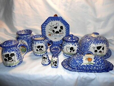 Molly Dallas Blue Spatterware 12 Misc Pieces Retails at $160.00 Excellent w2s2