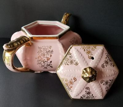 Vintage And Rare Pink Hall Victorian Plume Teapot With Beautiful Gold Decoration