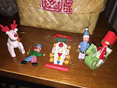 Vintage WOODEN CHRISTMAS TREE ORNAMENTS/CLOWN/RACECAR,/ SKIER/PONYGIRL/Lot of 4+